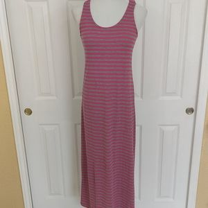 Just love pink and gray striped maxi dress size l